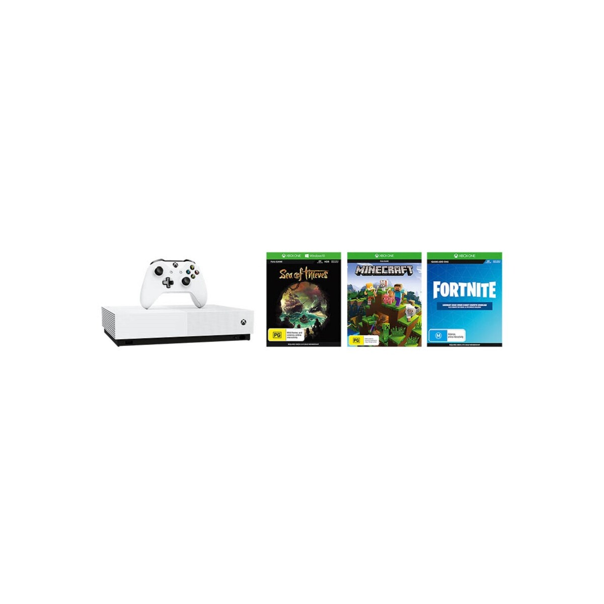 Xbox One S All Digital 1TB Console + Sea of Thieves + Minecraft Starter Collection & Fortnite Content Token Bundle