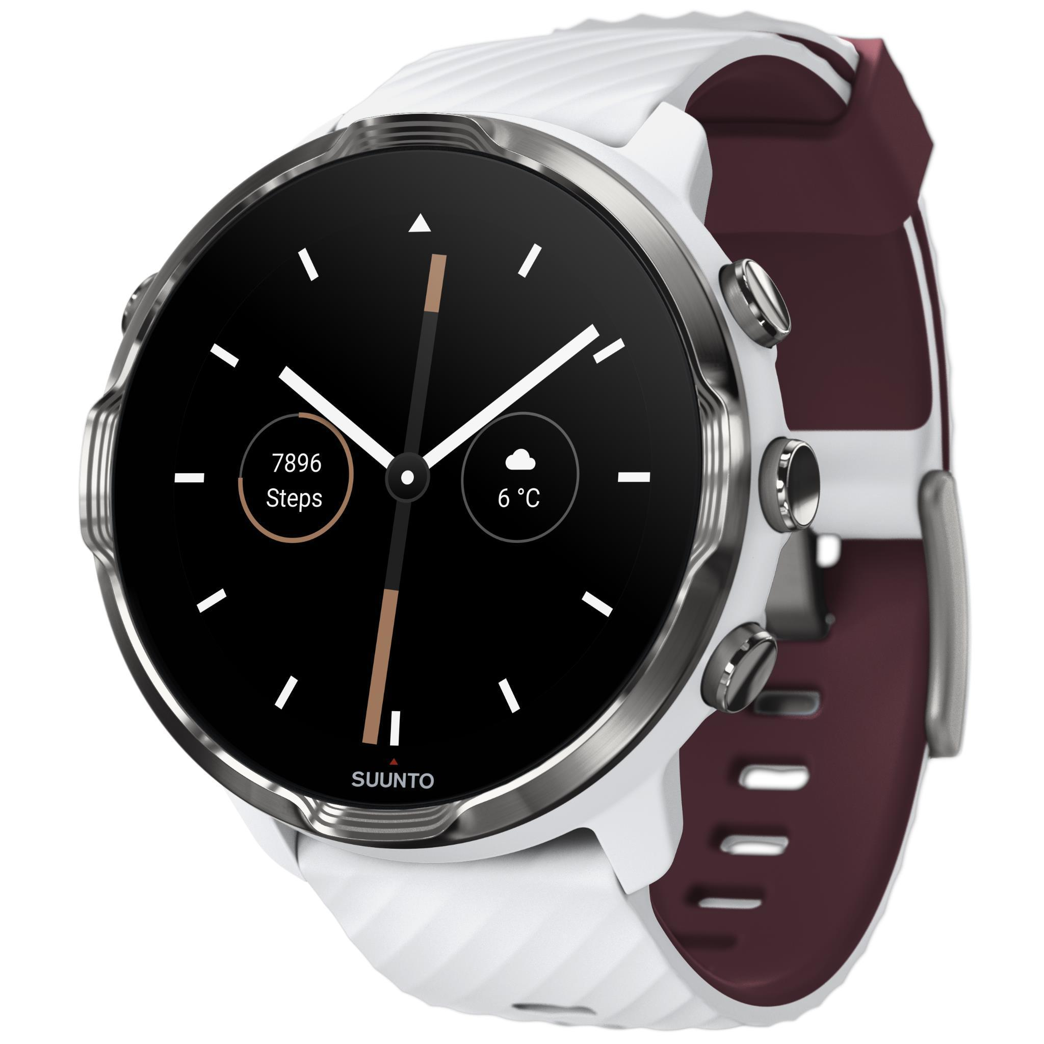 Suunto 7 GPS Sports Watch (White/Burgundy)