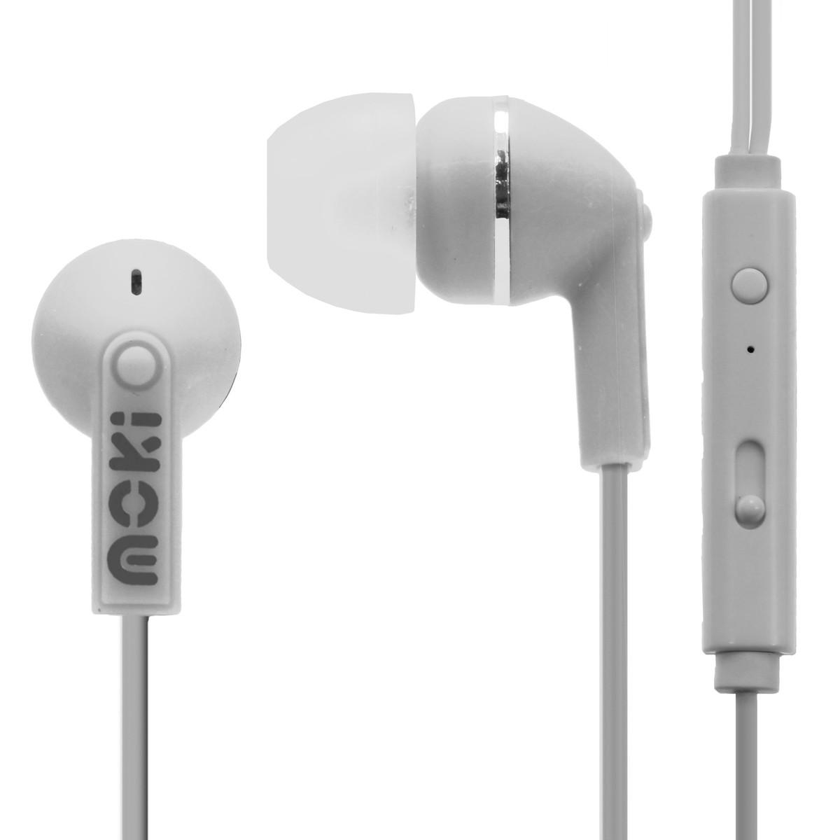Moki Noise Isolation Earphones with Microphone Earbuds – White