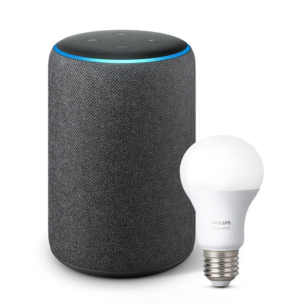 Amazon Echo Plus with Alexa and Bonus Smart Bulb (2nd Generation) [Charcoal Fabric]