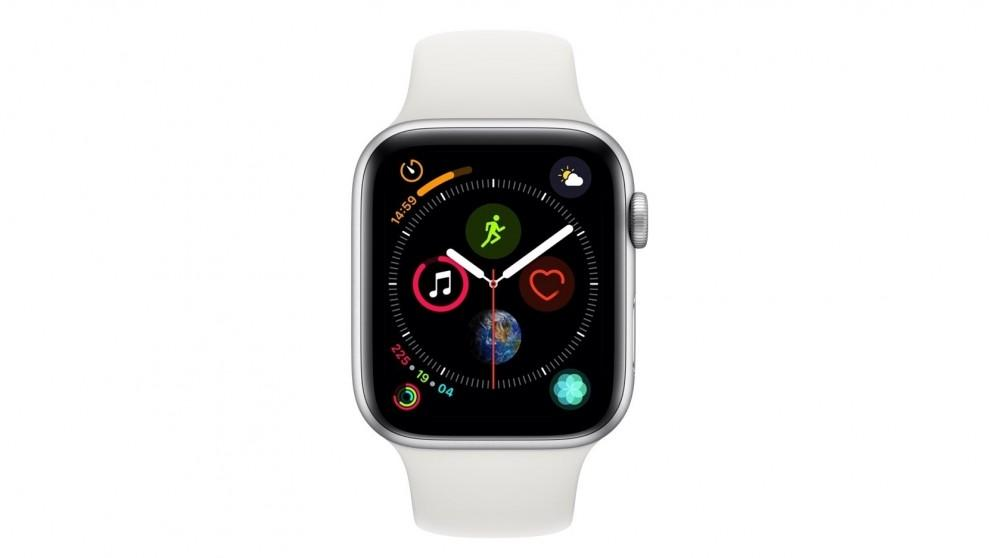 Apple Watch Series 4 44mm (OPTUS VARIANT) – Silver Aluminium Case with White Sport Band – GPS + Cellular