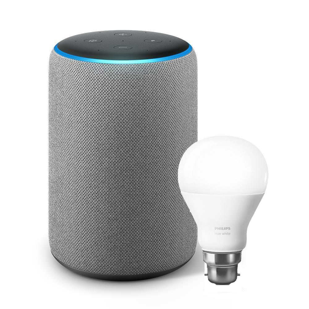 Amazon Echo Plus with Alexa and Bonus Smart Bulb (2nd Generation) [Heather Grey]