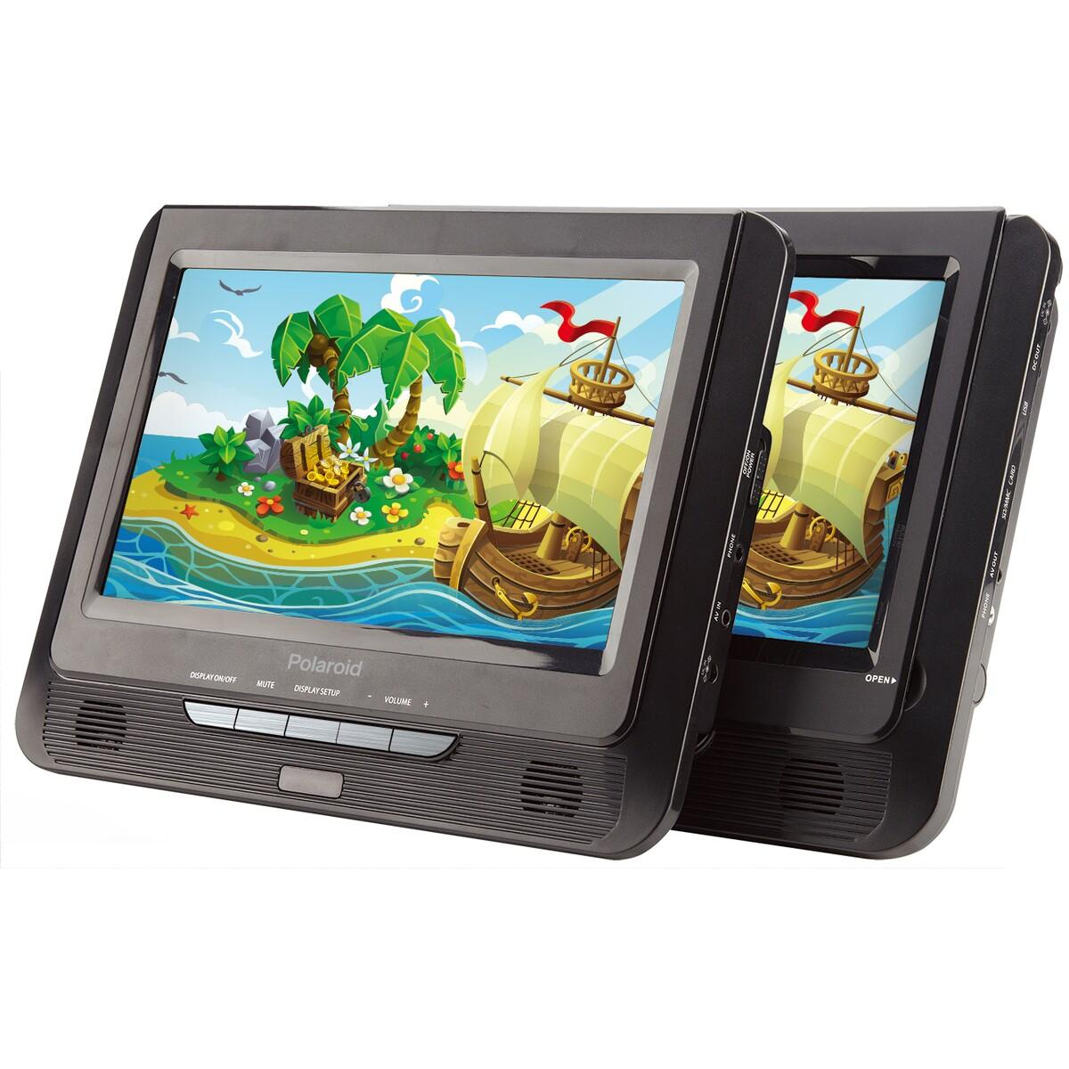 "Polaroid 9"" Dual Screen DVD Player"