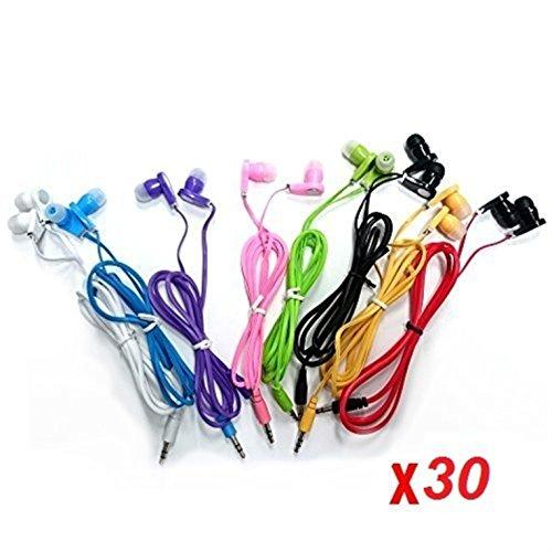 JustJamz 30 Pack 3.5mm Stereo in-Ear Earbud Headphones – Earphones (Assorted Colors)