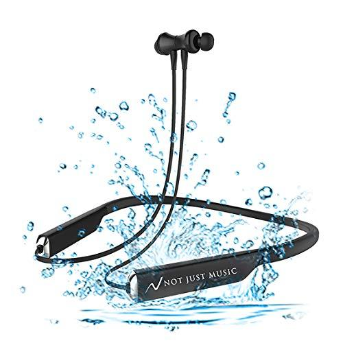 NOT JUST MUSIC Wireless Bluetooth Earphones Premium Stylish Magnetic Neckband Earphones. [16 Hours Play Time, Pure Rich HD Sound, CSR Chipset, BT4.2, IPX4] Gym-Driving-Work-Relaxing-Entertainment. Valuable Gift. Comfortable all-day wear.