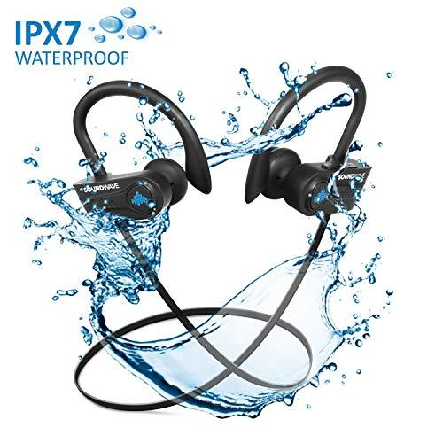 SoundWave Stereo Bluetooth 5.0 True Wireless Earphones, Premium Quality Exercise Mate for Sports, Gym, and Outdoors or just relaxing at home. IPX7 Waterproof, Sweat proof Headphones. CVC6.0 Noise Cancellation, Built-in Mic. Up to 10 Hours Playback Ti