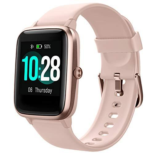 Smart Watch with Color LCD Touch Screen, Fitness Tracker with Heart Rate Monitor, Pedometer, Sleep Tracker, Waterproof Activity Tracker for Men Women Festival Birthday Anniversary (Pink)