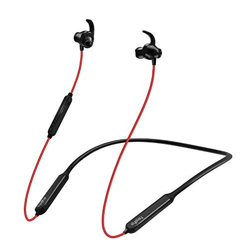 dyplay Active Noise Cancelling Bluetooth Headphones ANC Wireless Neckband Earbuds with Magnets IPX5 Waterproof 15 Hour Playtime – Sports Earphones with Inline Mic Strong Bass (red)