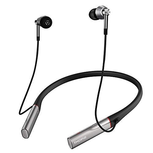1MORE Triple driver blueooth in ear headphones, soft foldrable neckband earphones with microphone, Hi-Res LDAC wireless sound quality, fast charging and volume controls – metal silver (updated version)