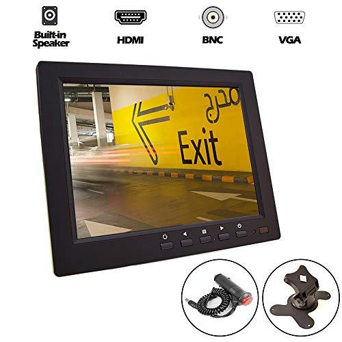 8 inch CCTV LCD Monitor 4:3 IPS Screen Display with VGA HDMI AV BNC Built-in Speaker USB Media Player for Auto Home Surveillance Security Camera STB 1024×768 HD with Car Power Adapter 12-24V