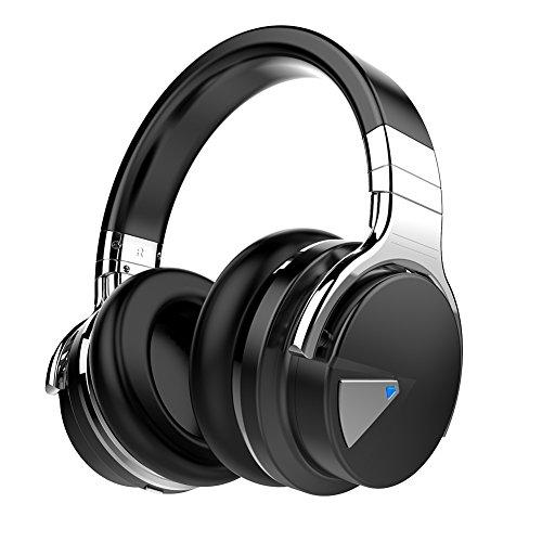 COWIN E7 Wireless Bluetooth Headphones with Mic Hi-Fi Deep Bass Wireless Headphones Over Ear, Comfortable Protein Earpads, 30 Hours Playtime for Travel Work TV Computer – Black