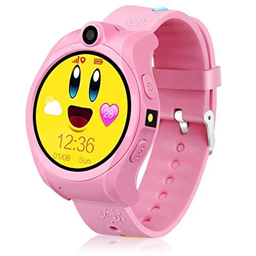 Kids Smart Phone Watch,GPS Tracker Watch for Kids,Geak Watch with Touchscreen,SIM Card Slot,Perfect Children Festival and Birthday Gifts,Fit for 3-15 Years Old Boys and Girls (Pink)