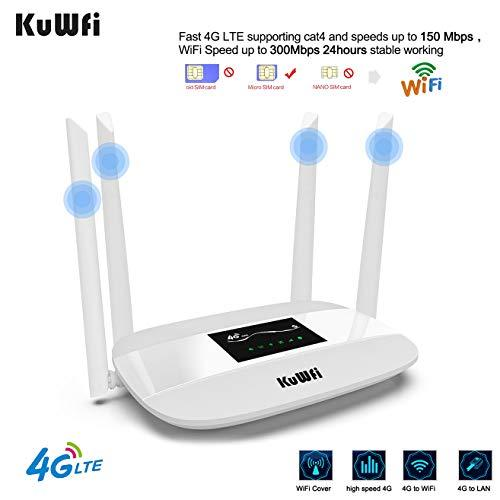 KuWFi 4G WiFi Router 300Mbps Unlocked LED Display LTE CPE Wireless Modem Hotspot with SIM Card Slot and Antenna Port Support Optus/Telstra/Virgin Mobile/Vodafone