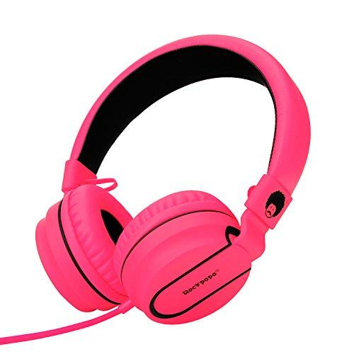 Rockpapa 952 Stereo Foldable Headphones On Ear with Microphone, Adjustable Headband for MP3/4 CD DVD in Car/Airplane Tablets Cellphone Laptop Black Pink