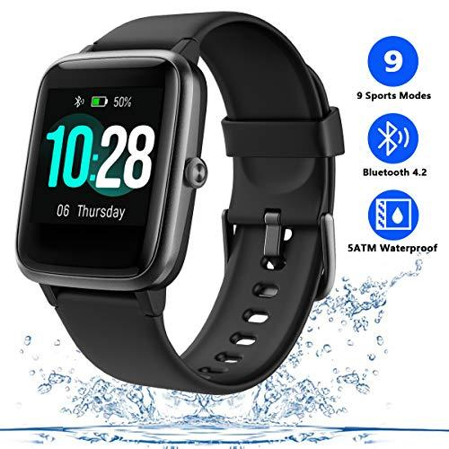 Men's Smart Watch Fitness Tracker for Women with Heart Rate Monitor Step Calorie Counter,Waterproof Sports Watch with Sleep Monitor Music Control,Activity Tracking Pedometer with Color Touch Screen (Black)