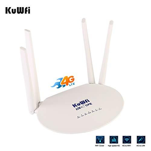LTE CPE SIM Card Router KuWFi 300Mbps Unlocked 4G LTE CPE Router with SIM Card Slot with with Powerful 4pcs Non-Detachable Antenna WiFi Hotspot Cat4 150Mbps Share 32 Users