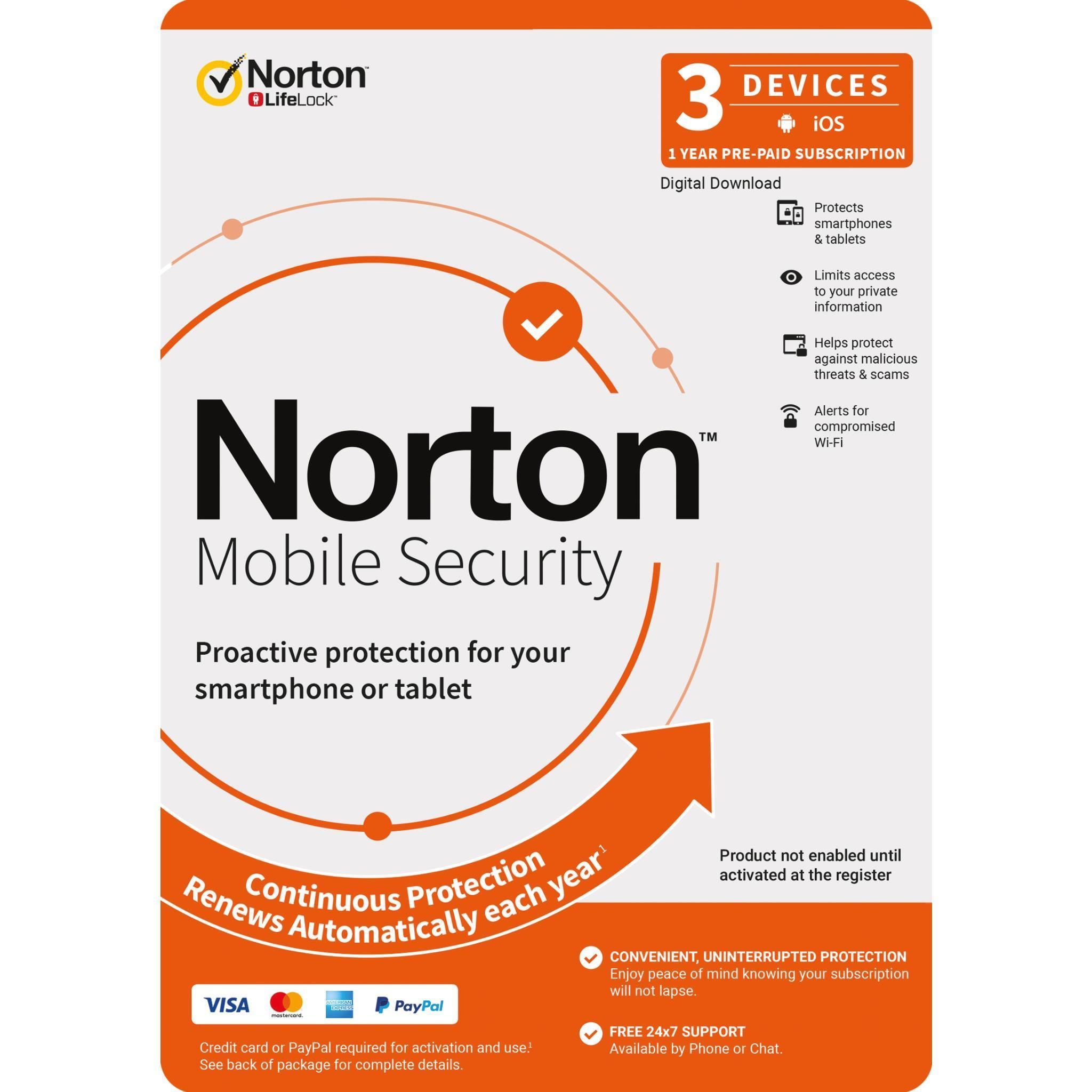 Norton Mobile Security (3 Devices – 12 Month) [Digital Download]