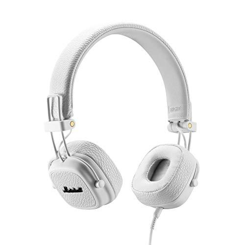 Marshall Major III Wired Headphones, Wired On-Ear Headphones, with Collapsible Design and Detachable 3.5mm Remote and Microphone Cord, White