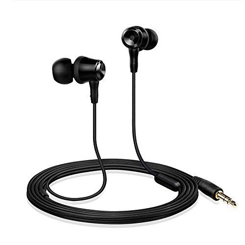 Wired Earphones with Microphone Classic Bass Stereo Earbuds in-Ear Headphones Headset for 3.5 mm Jack (Black)