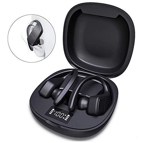 Wireless Earbuds, KIYOSAKI Over-Ear Hooks Bluetooth Headphones 5.0 in-Ear Stereo Wireless Earphones with Built-in High Definition Mic IPX5 for Sports, Mono/Stereo Mode (Stereo Sound 60 Hours Playtime)