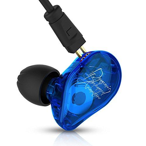 KZ ED16 Triple Drivers In-Ear Headphones Earphone Hifi Stereo Deep Bass Earbuds with Detachable Cable Noise Isolating Headset with Hybrid Driver for All 3.5mm Jack iPhone,Samsung,HTC,Nokia and Other Mobilephones(Blue No Mic)