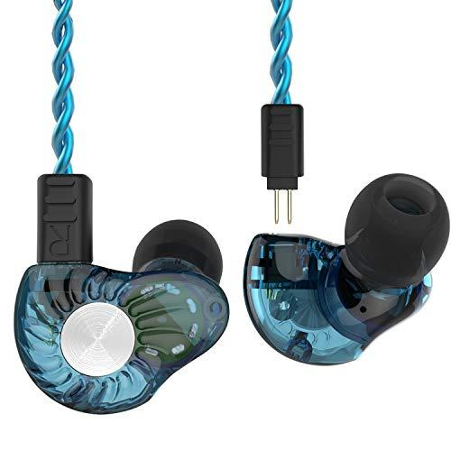 RevoNext RX8 in Ear Headphones, Dual Driver in Ear Monitor 1DD+1BA Deep Bass Headphones HiFi Earbuds with 2 Pins 0.78mm Detachable Cable (Blue-Mic)