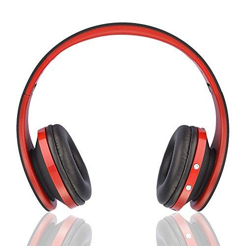 Wireless Bluetooth On-Ear Stereo Foldable Headphones Wired Headsets Noise Cancelling with Built-in Microphone Auriculares Headset Sports Earphones Foldable for Smart Phone Computer (Red)
