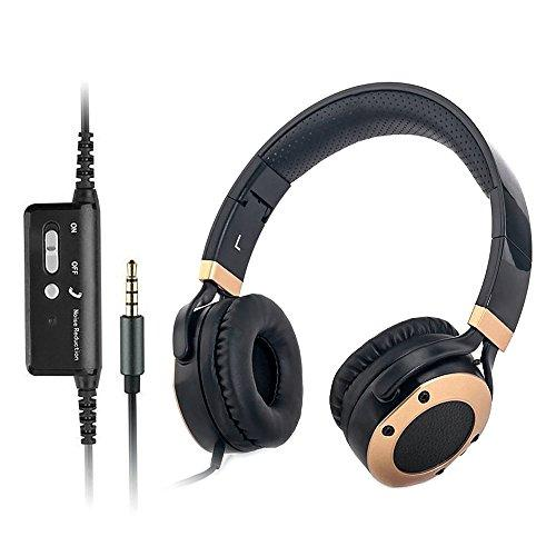 Active Noise Cancelling Over Ear Headphones with Microphone and Airplane Adapter, Alteng J19 Folding and Lightweight Travel Headsets, Hi-Fi Deep Bass Wired Headphones with Carrying Case – Black