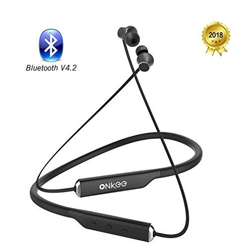 Onkee Bluetooth Headphones V4.2 Hands Free Calls 15 Hours Playtime, Wireless Sports Neckband Earbud with MIC IPX4 Water Resistant for Running Ergonomic Design Lightweight & Fast Pairing