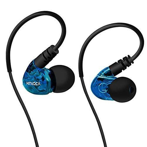 KINVOCA Sweatproof Sports Workout Earphones for Running Gym Exercise Jogging Wired Earhook Headphones with Volume Remote and Microphone Bass Noise Isolating Over Ear in Ear Sport Earbuds for iPod iPhone Samsung HTC (Blue)
