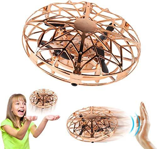 ZeroPlusOne® Hand Operated Drones for Kids or Adults – Air Magic Scoot Hands Free Mini Drone Helicopter, Easy Indoor UFO Flying Ball Drone Toys for Boys or Girls (Gold)