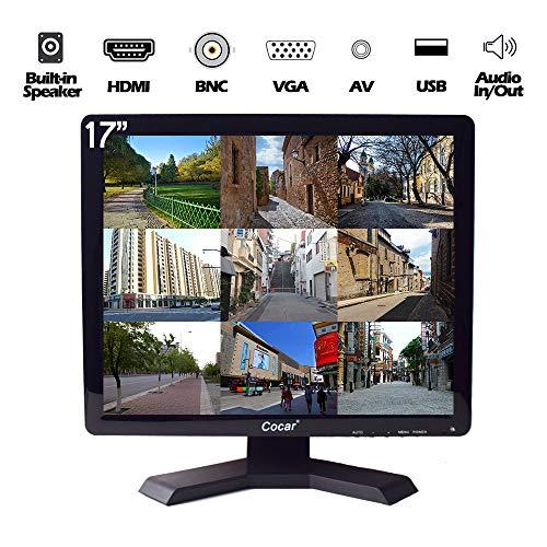 17 inch CCTV Monitor with VGA HDMI AV BNC Audio In/Out Ports, Built-in Speaker 4:3 HD Display (LED Backlight) LCD Security Screen with USB Drive Player for Home/Store Surveillance Camera STB PC or Other Video Equipment 1280×1024 Resolution