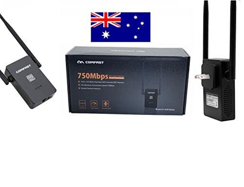 Comfast Wifi Range Extender Fast Speed Internet Signal Booster 750Mbps 2.4/5.0 Ghz Dual Band Wireless Repeater – AU Plug – Black