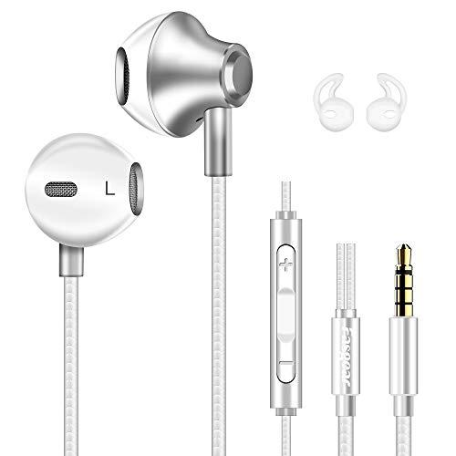 Fasgear in Ear Wired Earphones with Mic & Volume Remote Control Deep Bass 3.5mm Sport Headphones Stereo Sound Compatible with iPhone 6S Plus 5S SE,iPad Pro,iPod, Cellphones, Tablets, Laptops (White)