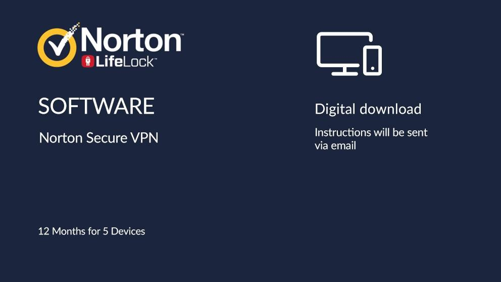 Norton Secure VPN Digital Download – 12 Months for 5 Devices