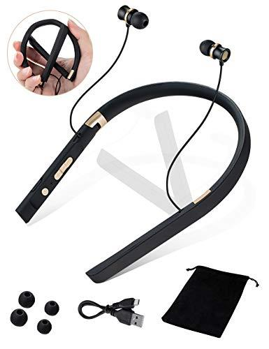 Bluetooth Headphone with Microphone Wireless Headset Wearable Neckband Foldable Headphone with Mic for Android iPhone 5.O+EDR for Cycling Yoga Gym Workout Running Exercise with Storage Bag