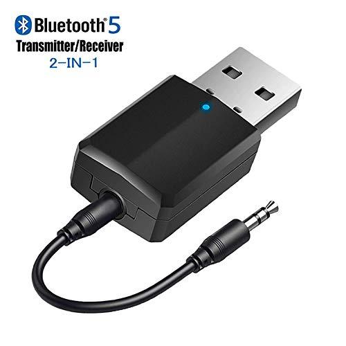 USB Bluetooth 5.0 Transmitter Receiver 2-in-1, Upgraded Bluetooth V5.0+EDR Adapter Dongle for TV PC Headphones Home Stereo Car, HIFI Wireless Audio Adapter with 3.5mm AUX, USB Power Supply/Plug & Play