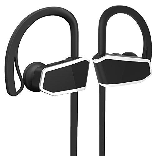 Bluetooth Soports Headphones, IPX7 Waterproof Headsets HD Stereo HiFi Sound Enhanced Bass Noise Cancelling Earphones Running Earphone with Mic – Black
