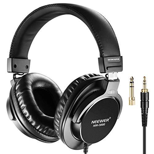 Neewer Studio Monitor Headphones – Dynamic Rotatable Headsets with 45mm Loudhailer Driver, 3 Meters Straight Cable and Coiled Cable, 1/4inch-6.35mm Plug Adapter for PC, Cell Phones, TV (NW-3000)