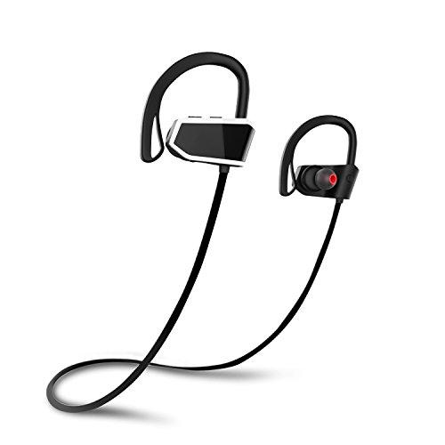 MoKo Bluetooth Headphones, Wireless Earphones Earbuds with Mic & Siri IPX7 Waterproof Sweatproof HD Stereo Sports 8 Hour Battery Noice Cancelling Headset for Gym Running, Workout, Exercise, Black