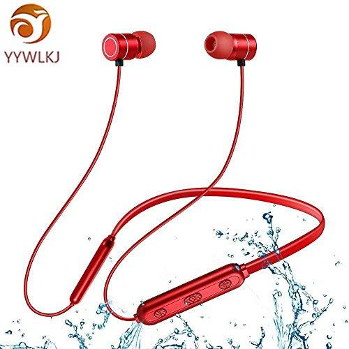 YYWLKJ Bluetooth Earphone,Wireless Earphone,Sports Bluetooth Headset,Mic Stereo Noise Cancelling Waterproof Ear Headphones for Running Gym Yoga – Compatible with Apple, Samsung Mobile Phones (Red)