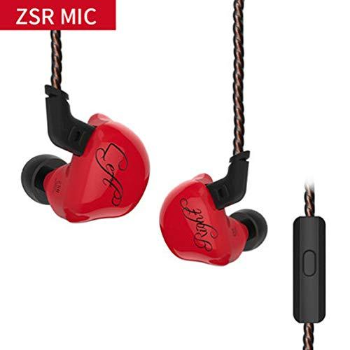 KZ ZSR Sports Headphones Wired Earbuds 3.5mm MP3/Computer/Phone/Noise Canceling/HiFi Fashion Headset Balanced Armature(Red with mic)
