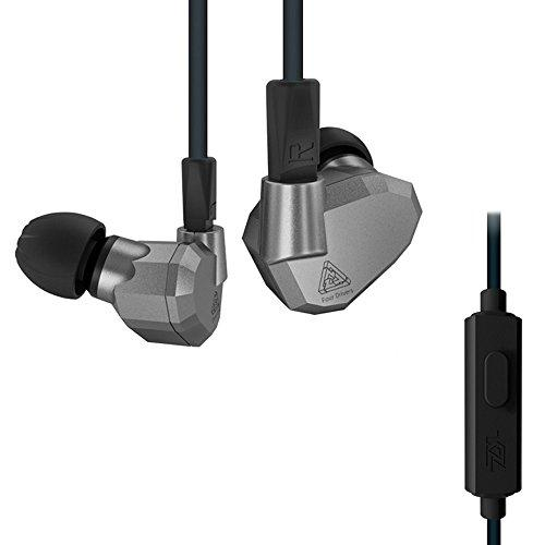 OKCSC ZS5 HiFi Headset Wired Sport Earphone 2DD+2BA Hybrid Headphone DJ Monitor Noise Cancelling Earbuds with Detachable Cable for iPhone 8, iPhone x,Samsung, Huawei,LG (Gray mic)