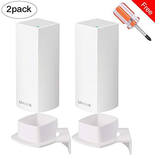 Wall Mount Stand Holder Elecguru Stability ABS Wall Mount Protective Holder Stand Router Guard for Linksys Velop Tri-Band Whole Home WiFi Mesh System Router White (2 Pack)