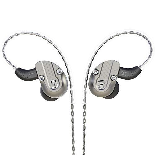 RevoNext 202 in Ear Monitor,Noise-Isolating in Ear Headphones 2DD+2BA Banlance Armature HiFi with Detachable Cable for Audio Player, Smartphone, Computer (mic, Gary)