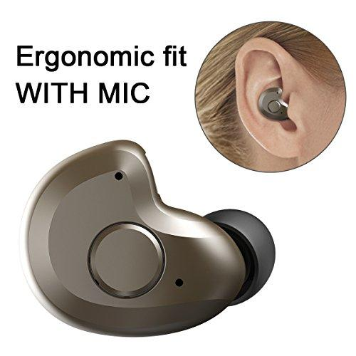 Bluetooth Headset, AngLink 0.13oz Only V4.1 Mini Bluetooth Earpiece Wireless Earpiece in-Ear Bluetooth Earbuds with Microphone Mic Hands-Free for iPhone Samsung and Other Smartphones (Brown)
