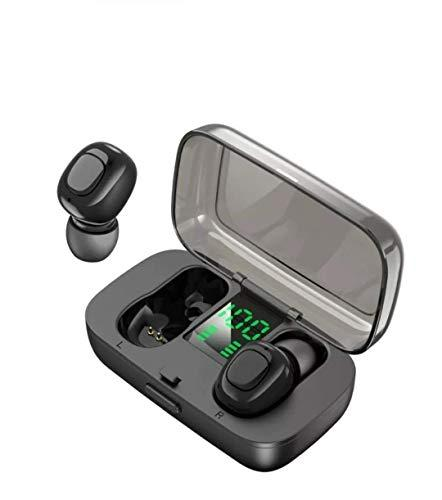 Bluetooth 5.0 Earphones,True Wireless Bluetooth Earbuds in-Ear Wireless Sports Earphones (Built-in Mic, Stereo Calls, with Charging Case,50 Hours Playtime) (Black)