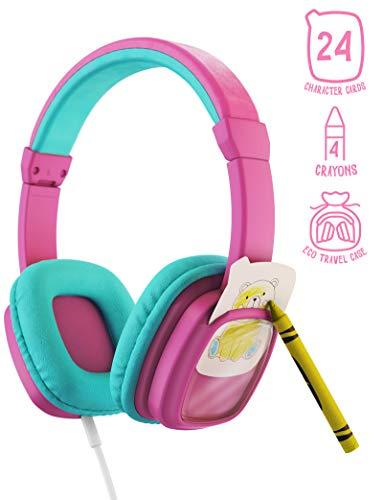 Planet Buddies Kids Headphones, Volume Limited Childrens Headphones Girls and Boys with Colour and Swap Animal Cards – Pink