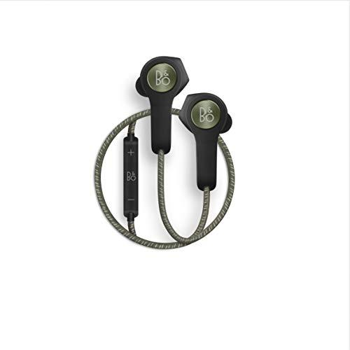 Bang & Olufsen Beoplay H5 Wireless In-Ear Headphones, Splash and Dust Resistant Headphones with Built-In Microphone and Remote, Moss Green