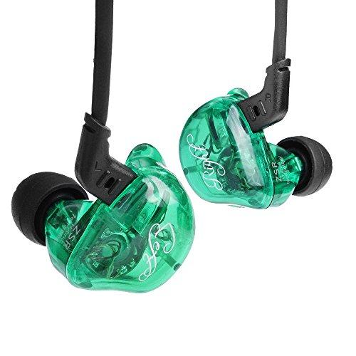 KZ ZSR in-Ear Headphones Earphone HiFi Stereo Deep Bass Earbuds with 0.75mm 2 Pins Detachable Cable Noise Isolating Headset with Hybrid Driver for Running, Jogging, Walking (Green Without Mic)